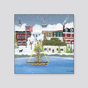 "Christmas in Annapolis Square Sticker 3"" x 3"""