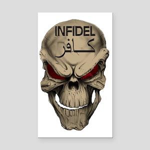Red Eyed Infidel Skull Rectangle Car Magnet