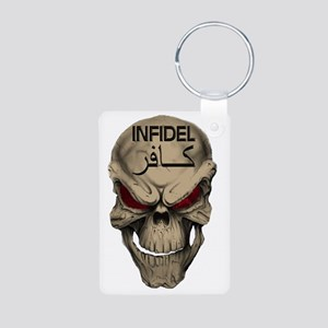 Red Eyed Infidel Skull Aluminum Photo Keychain