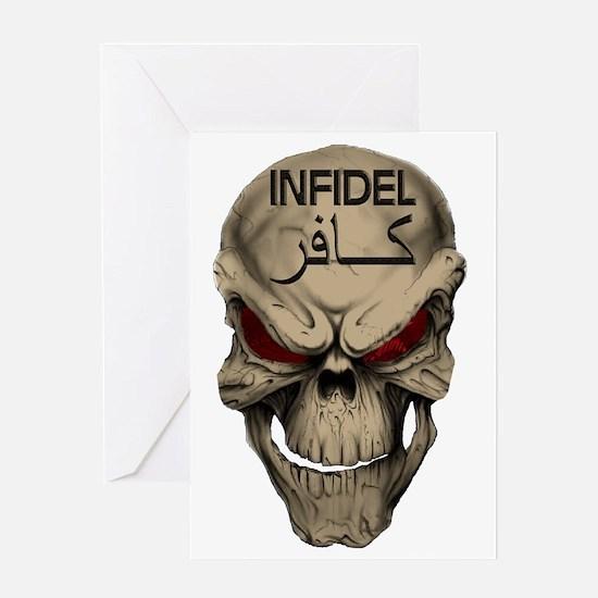Red Eyed Infidel Skull Greeting Card