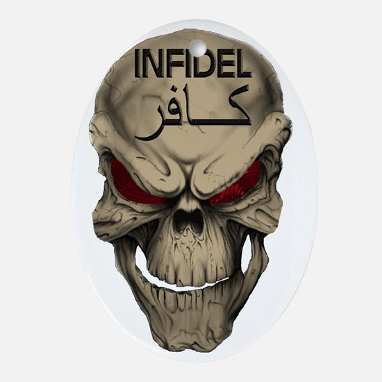 Red Eyed Infidel Skull Oval Ornament