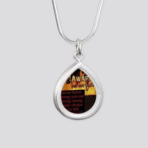 CRPS Awareness Syndrome Silver Teardrop Necklace