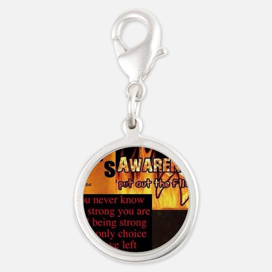 CRPS Awareness Syndrome Silver Round Charm