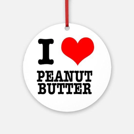 I Heart (Love) Peanut Butter Ornament (Round)