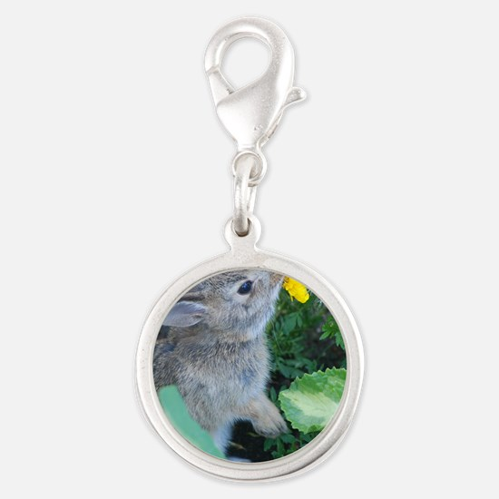 baby bunny Silver Round Charm