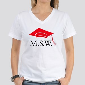 Red MSW Grad Cap Women's V-Neck T-Shirt