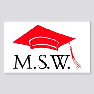 Red MSW Grad Cap Rectangle Sticker