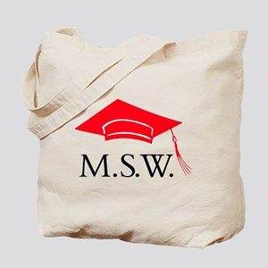 Red MSW Grad Cap Tote Bag