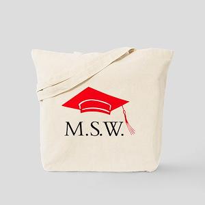 Red MSW Grad Cap Tote Bag