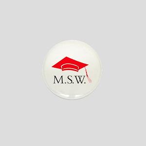 Red MSW Grad Cap Mini Button