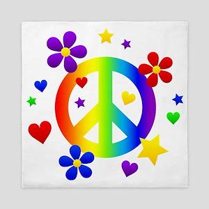 Rainbow Peace Sign Queen Duvet