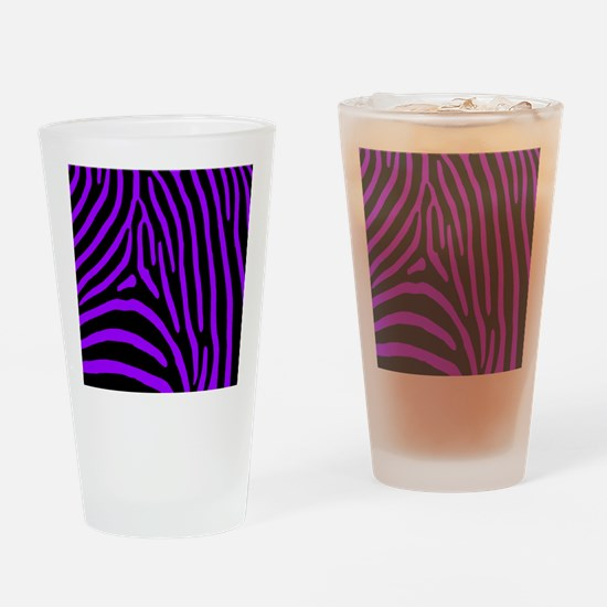 Purple and Black Zebra Stripes Drinking Glass