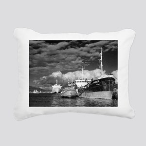 Ships at the harbor Rectangular Canvas Pillow