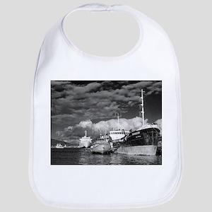 Ships at the harbor Baby Bib