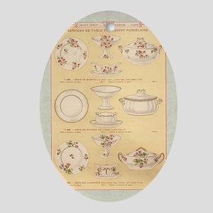Vintage French Porcelain Oval Ornament