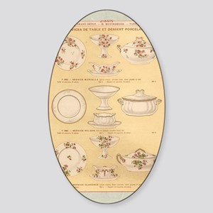 Vintage French Porcelain Sticker (Oval)