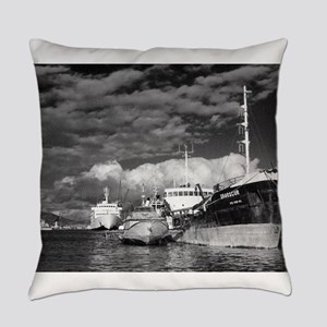 Ships at the harbor Everyday Pillow