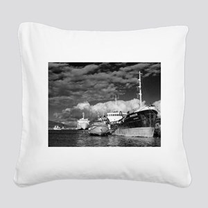 Ships at the harbor Square Canvas Pillow
