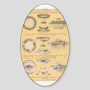 Vintage French Porcelain Sticker (Oval)