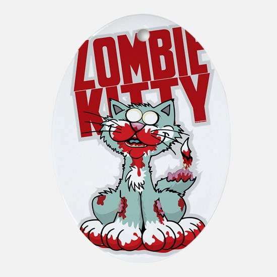 Zombie Kitty Oval Ornament