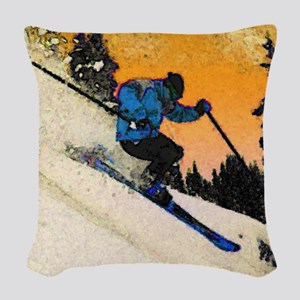 skier1 Woven Throw Pillow