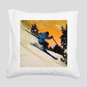 skier1 Square Canvas Pillow