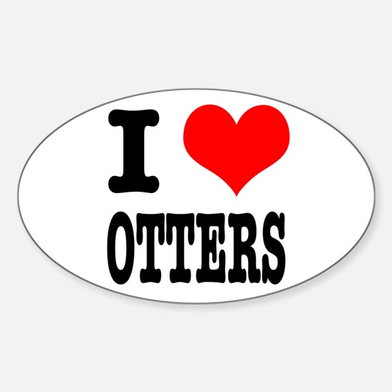 I Heart (Love) Otters Oval Decal
