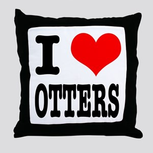I Heart (Love) Otters Throw Pillow