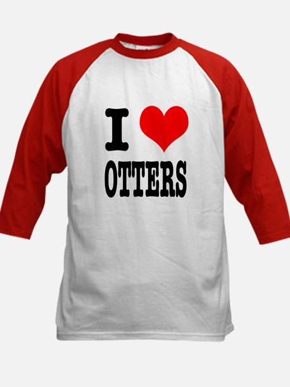 I Heart (Love) Otters Kids Baseball Jersey
