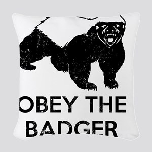 Obey The Badger Woven Throw Pillow