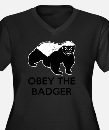 Obey The Bad Women's Plus Size Dark V-Neck T-Shirt