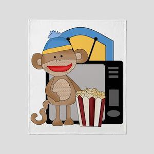 movie night sock monkey Throw Blanket