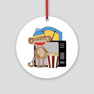 movie night sock monkey Round Ornament