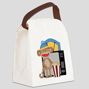 movie night sock monkey Canvas Lunch Bag