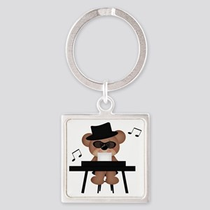 Piano playing bear Square Keychain