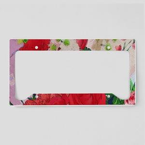 Painted Rose Garden License Plate Holder
