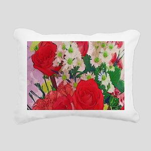 Painted Rose Garden Rectangular Canvas Pillow