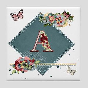 Dreamland Monogram A Tile Coaster