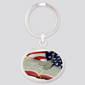 Armed Forces Oval Keychain