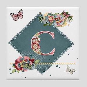 Dreamland Monogram C Tile Coaster