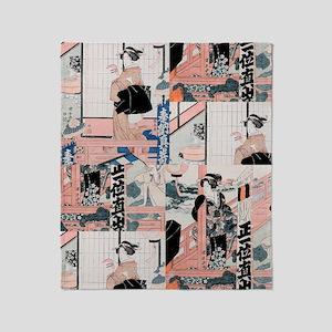 Japanese Geisha Shower Curtain Throw Blanket