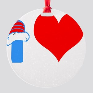 I Love Down Hill Skiing Round Ornament