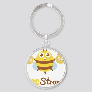 Bee strong in lifting weights beyon Round Keychain