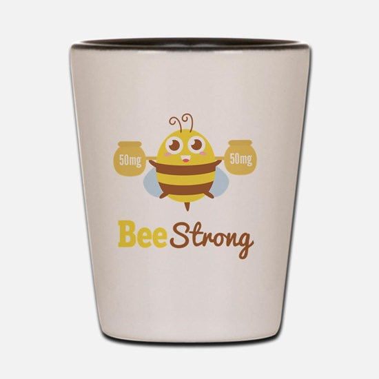 Bee strong in lifting weights beyond on Shot Glass