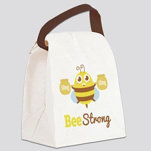 Bee strong in lifting weights bey Canvas Lunch Bag