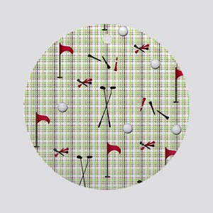 Hole in One Golf Equipment on Plaid Round Ornament