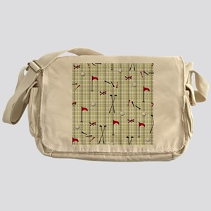Hole in One Golf Equipment on Plaid Messenger Bag