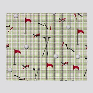 Hole in One Golf Equipment on Plaid Throw Blanket