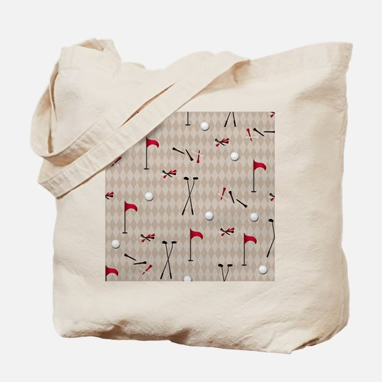 Hole in One Golf Equipment on Tan Argyle Tote Bag