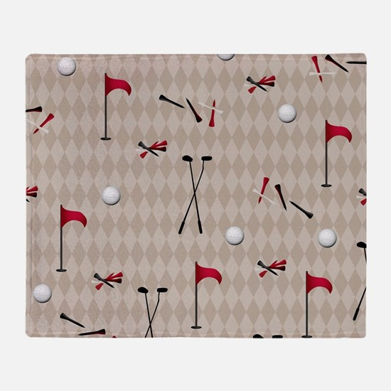 Hole in One Golf Equipment on Tan Ar Throw Blanket